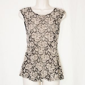 Moon Collection | Lace & Mesh Peplum Floral Top